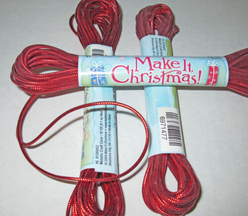 10 yard bundle red metallic cord