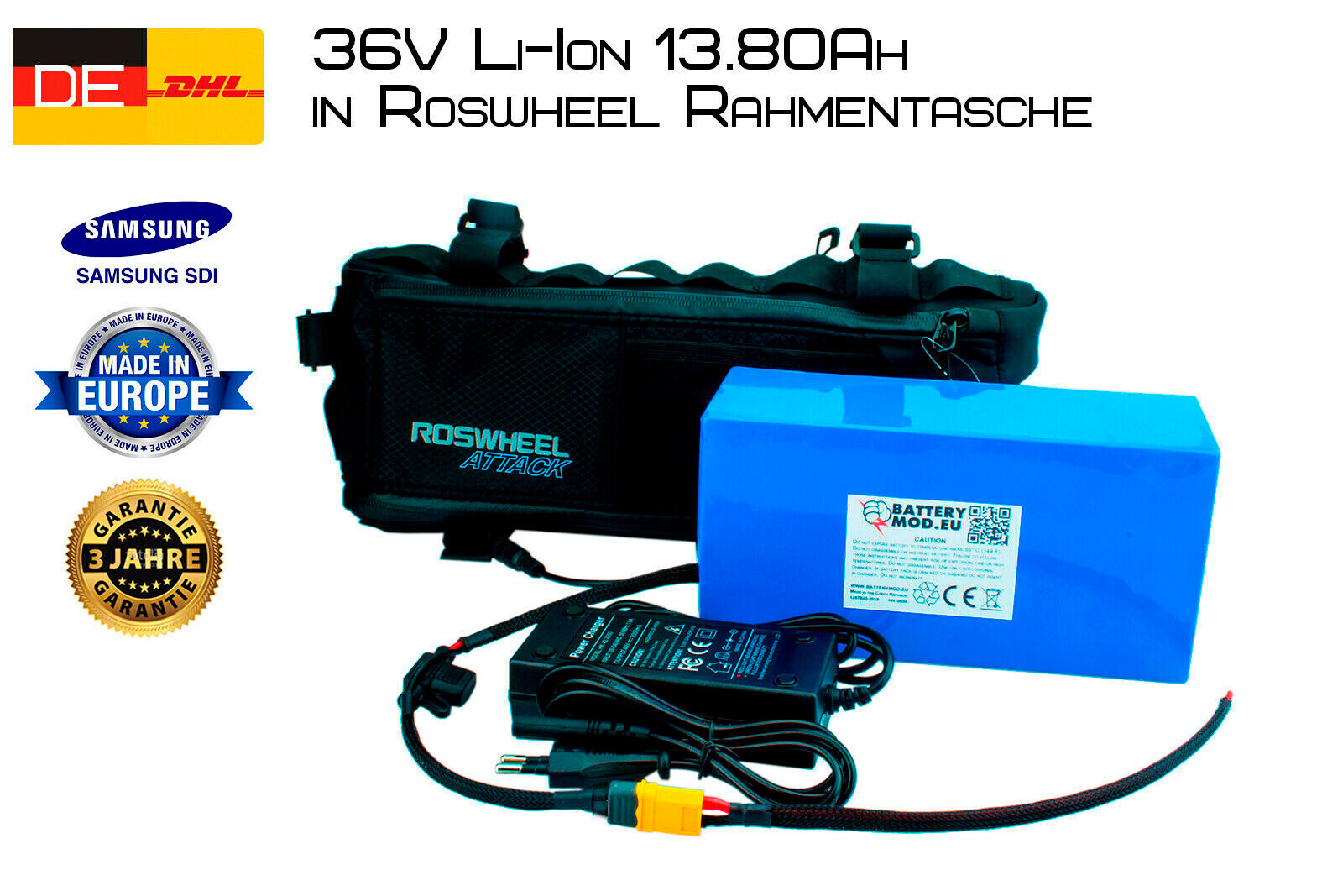 E-Bike Akku 36V 13.80AH Samsung INR18650-35E Pedelec  Li-Ion Rahmenakku
