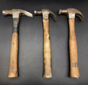 Vintage-Lot-3-Stanley-Standard-More-Bell-Face-Claw-Hammers-USA-Antique