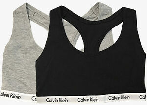 338772147d592 NEW CALVIN KLEIN Womens Bralette Sports Bra Top SET OF 2 Gray Black ...