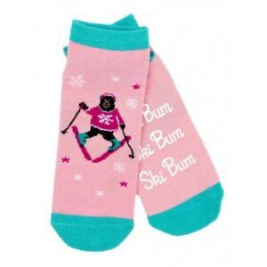 Hatley-No-Slip-Ankle-Socks-WOMENS-Medium-SKI-BUM-Black-Bear-Skier