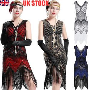 e3b770106b5 1920s V Neck Beaded Fringed Great Gatsby Dress Popular Womens ...