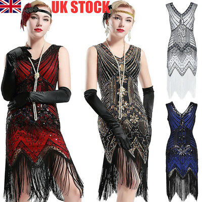 Uk Womens 1920s V Neck Flapper Dress Beaded Gatsby Fringed