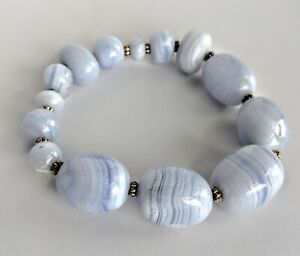 Lilac-amp-White-Stone-Beads-Stretch-Bracelet-With-Silver-Tone-Spacer-Beads