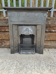 Cast Iron All in one Art Nouveau Combination Fireplace Complete and ready to fit