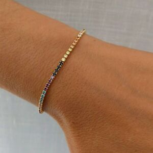 Classic-Rainbow-Multi-Color-Sapphire-Tennis-Bracelet-14k-Rose-Gold-Over-7-25-034