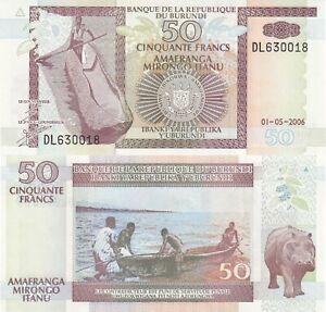 Burundi-50-Francs-01-05-2006-Hippopotomus-p36f-UNC
