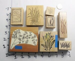 Wooden-RUBBER-STAMP-Block-Lot-Branches-Trees-Cattails-Plants-Borders