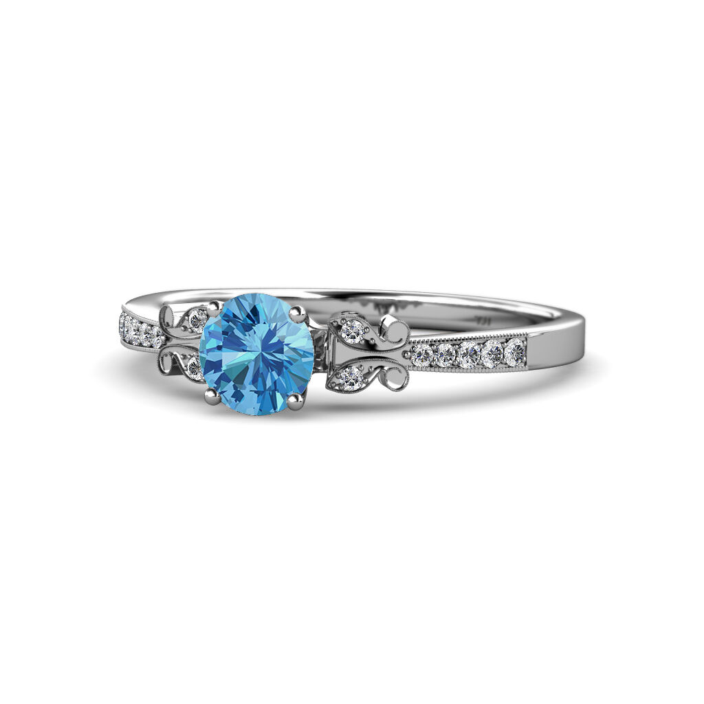 bluee Topaz & Diamond Engagement Ring 1.22 cttw in 14K gold JP 59371