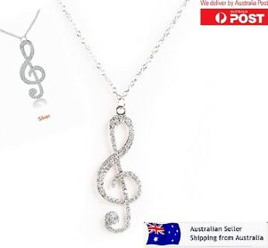 Rhinestone-Necklace-Music-Note-6cm-Pendant-Chain-Silver-Sparkling-Jewellery