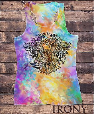 SUB926 Womens Vest Tribal Red Indian Owl Native American Feathers Sublimation