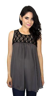 Gray Black Maternity Sleeveless Chiffon Lace Maternity Pregnancy Top  S M L XL