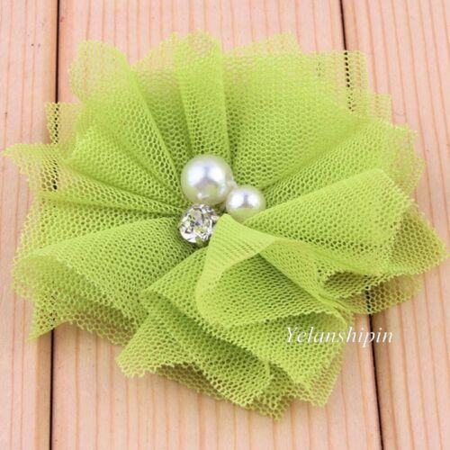 120PCS Mesh Hair Artificial Flowers With Rhinestones+Pearls For Headband Hair