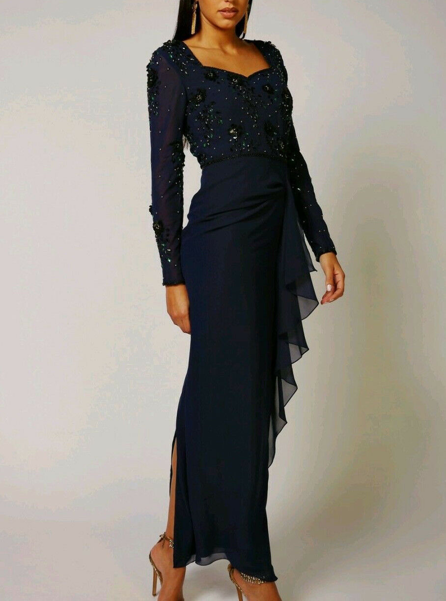 Virgos Lounge Navy Embellished Long Sleeve Frill Skirt Party Maxi Dress