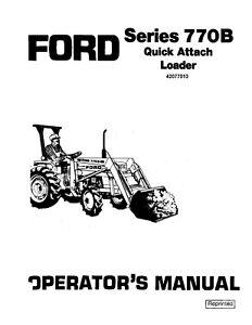 NEW-HOLLAND-Ford-SE4078A-770B-Quick-Attachment-Loader-Ser-100-OPERATORS-MANUAL
