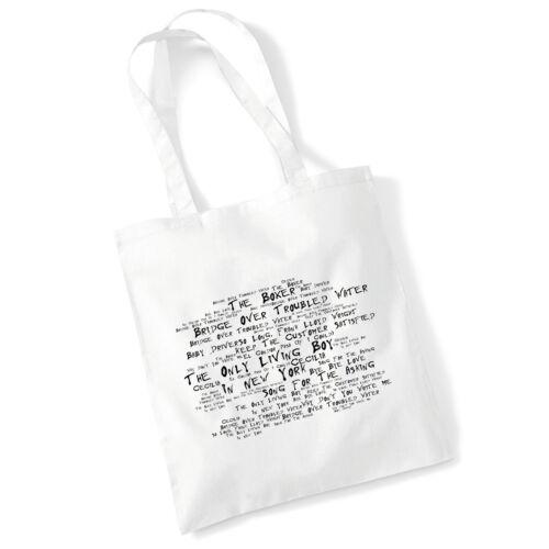 Art Studio Tote Bag SIMON AND GARFUNKEL Lyrics Print Album Poster Shopper Gift