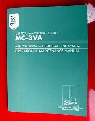 Business & Industrial Dashing Okuma Vertical Machining Center Oper & Maintenance.2820-e-r3 Inv 9851 Pure Whiteness Metal Cutting