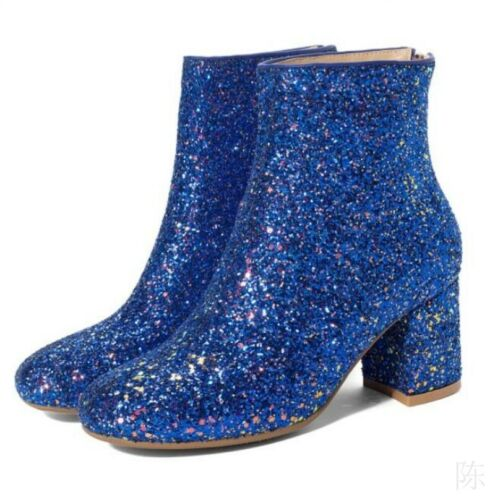Women/'s Biker Motorcycle Ankle Boots Sequins Glitter Square Toe Mid Heel Shoes