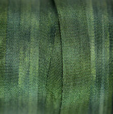 Green Silk Ribbon 100% Pure 7mm Embroidery Hand Dyed Pine - 3mtr