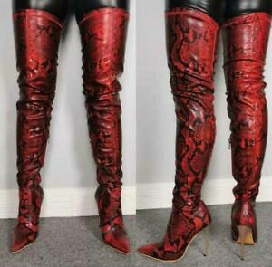 Women-High-Stiletto-Pointy-Toe-Over-Knee-Thigh-Nightclub-Snakeskin-Boots-35-47