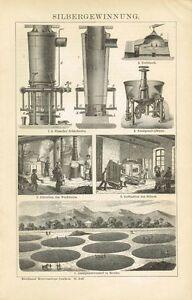 Erfinderisch Tafel Silbergewinnung Silberofen 1895 Original-holzstich Keine Kostenlosen Kosten Zu Irgendeinem Preis Silber