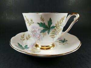 "Vintage Queen Anne Bone China England ""Louise"" Cup and Saucer Set with Gold Trim"