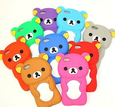 For iPhone SE 5S -Soft Silicone Rubber Skin Case Cover Cute Teddy Bear Accessory