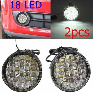 2pcs-White-lights-18LED-Round-Daytime-Running-Light-DRL-Car-Fog-Day-Driving-Lamp