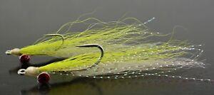 6ct - Chartreuse & White Clouser Minnow Flies - Mustad Saltwater Duratin Hooks