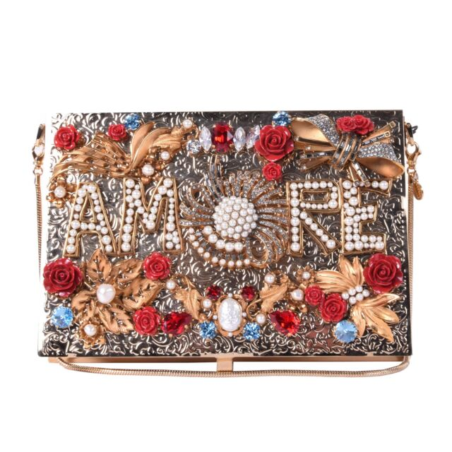 DOLCE   GABBANA Crystals Roses Embellished Metallic Box Clutch AMORE Bag  06524 c41508cde04a6