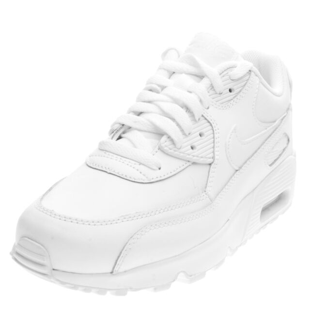 Nike AIR MAX 90 Leather GS All White Mens Trainers Sale UK