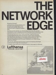 LUFTHANSA GERMAN AIRLINES 1966 THE NETWORK EDGE SHIPPING TO EUROPEAN ROUTES AD