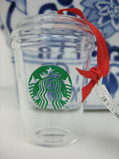 Starbucks Clear Glass To Go Cup Mug Ornament, 2016 Christmas Holiday