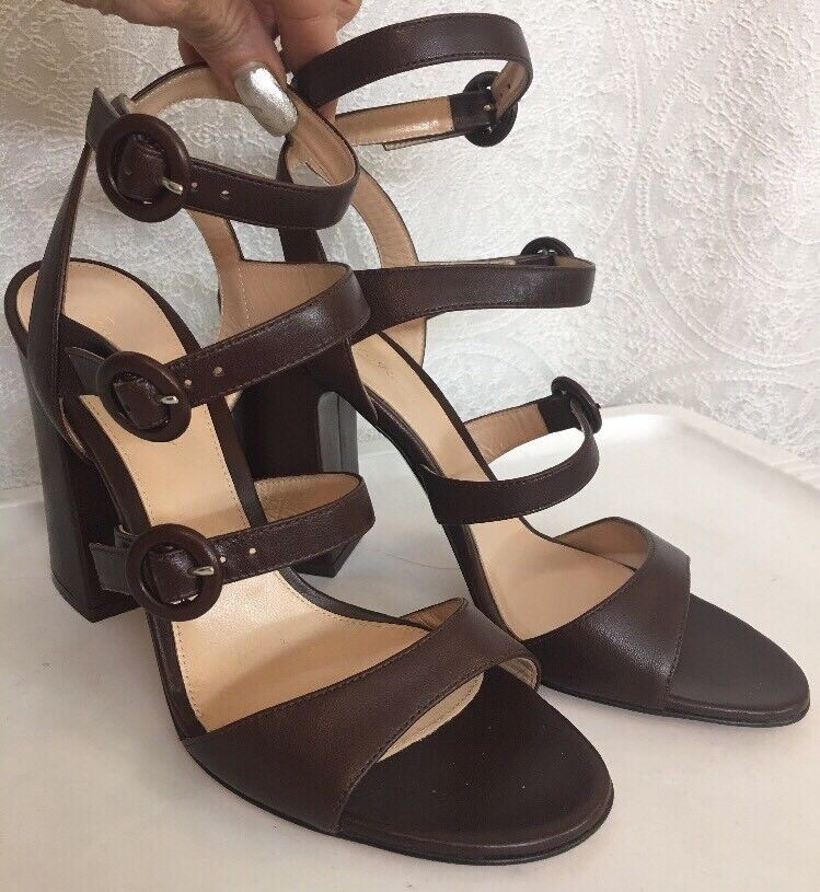 Gianvito Rossi chaussures marron marron marron Leather Three buckle strapsTaille 40 New 2c513b