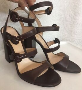 5d6da0cb69f Details about Gianvito Rossi Shoe Brown Leather Three buckle strapsSize 40  New