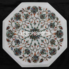 12'' White Marble Coffee Table Top Pauashell Stone Marquetry Inlay Outdoor Decor