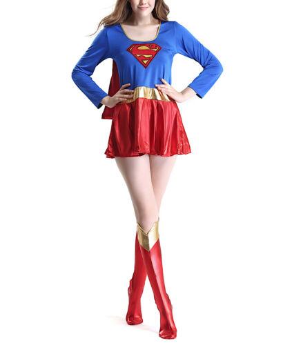 Super girl Vestito Carnevale Donna Supergirl Woman Cosplay Costume SUGIR01 E