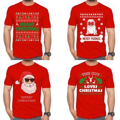Mens Funny T Shirts-Merry Christmas Large Tree-Festive Season Clothing-61028