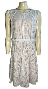 COOPER ST Size14 Dress Stretch Lace Flared Skirt Lined Cap Sleeve Back Zip White