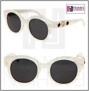641435374e GUCCI GG0207S Ivory Pearl Cat Eye Star DIVA Sunglasses 0207 006 ...