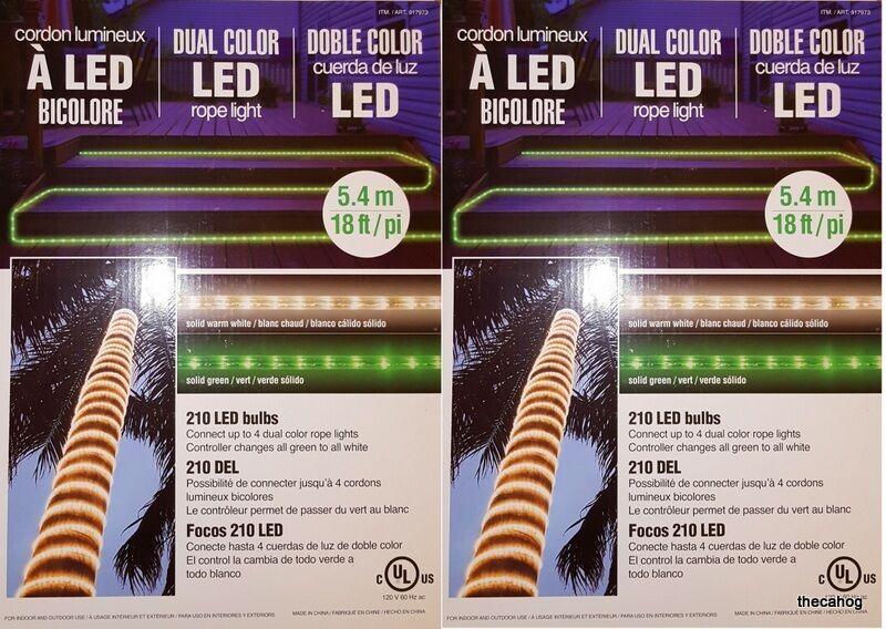 Lote de 2-18 Metros. LED blancoo Ropelight Doble Color verde 210 Bombillas Navidad Envío Gratuito