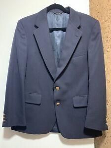 Aquascutum men LONDON blazer jacket size 39R dark blue wool 2 button Authentic