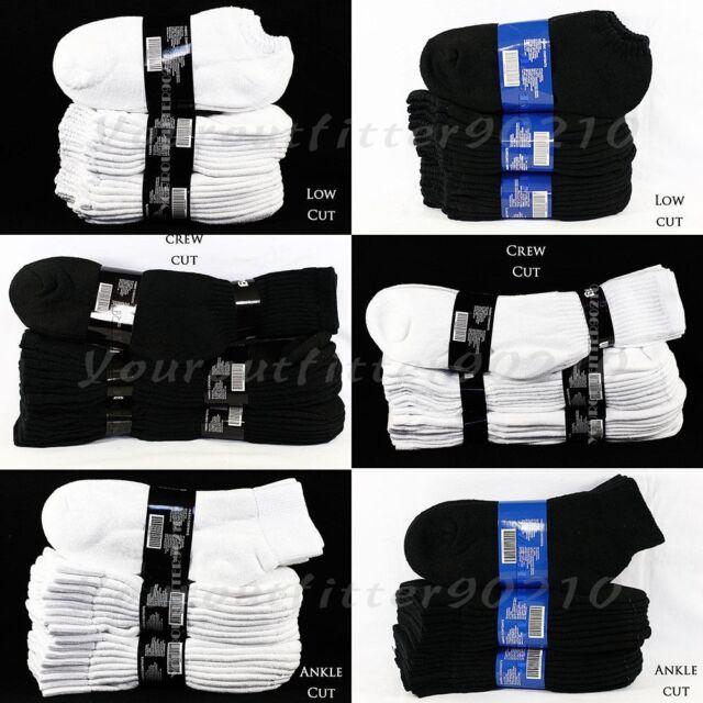 12 Pairs Lot Men 9-11 10-13 Athletic Sports Cotton Crew Ankle Socks White Black