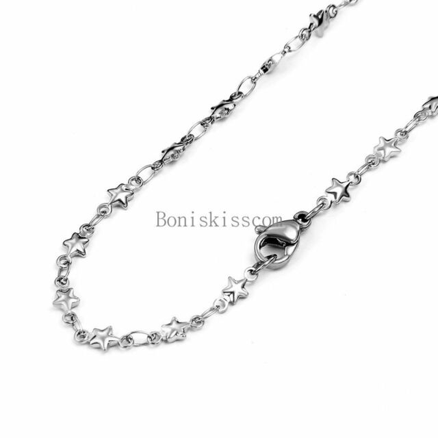 Silver Stainless Steel Necklace Star Link & Cable Chain Necklace 22 Inches