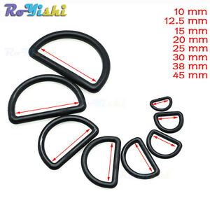 Plastic-D-Ring-Webbing-Strapping-Leather-Bag-Shirt-Craft-Black-8-Sizes-Wholesale