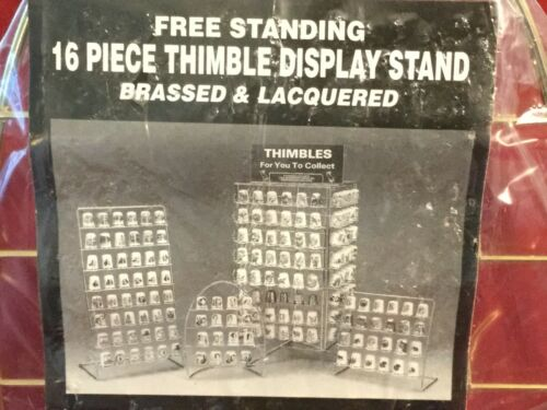 """JES Free Standing 16 Piece Round Thimble Display Stand Brassed /& Lacquered 6/""""x8/"""""""