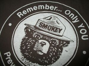 SMOKEY-BEAR-T-SHIRT-Only-You-Can-Prevent-Wildfires-Forest-Retro-Brown-Adult-MED