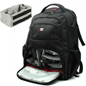 SWISS GEAR DSLR Camera Backpack Bag Padded For Canon Nikon Sony ...