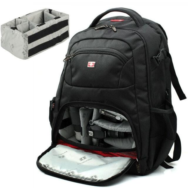"SWISSGEAR Waterproof DSLR Camera Backpack 15.6"" Laptop Bag Padded + Rain Cover"