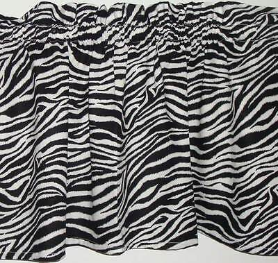 Zebra Print Fabric Valance Curtain Kids Room or Classroom Window Treatment